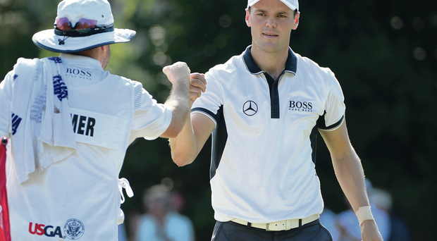 Job done: Martin Kaymer cruises to the US Open title