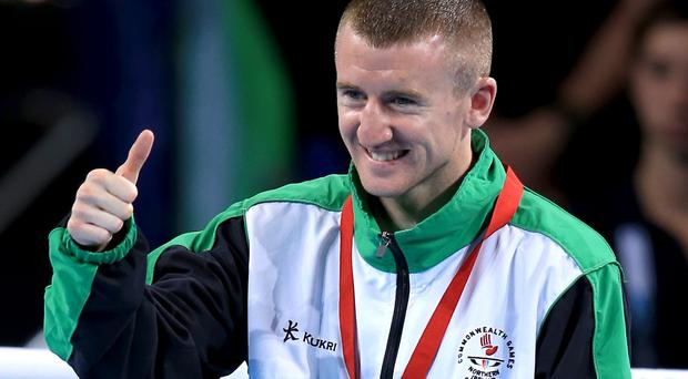 Paddy Barnes, pictured, retained his title by beating Devendro Laishram