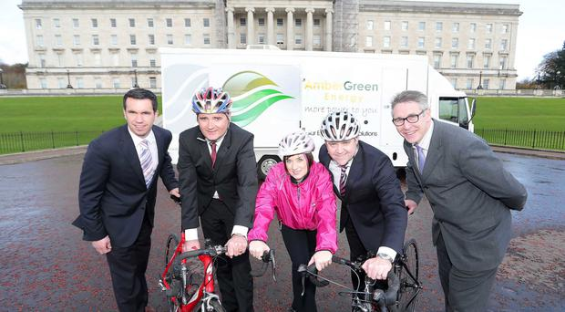 Green light: Cycling Tour of Ulster launched by Eunan Murray, Sports Operations Manager with Cookstown District Council, Race organiser Garry Nugent, Clare McStay, Energy Consultant with AmberGreen Energy, Neil O'Brien, Chairman of AmberGreen and Gerard Houlahan, Deputy Director of Recreational Services with Armagh City and District Council