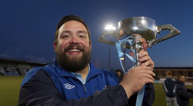 Cup glory: Ards Rangers boss Lee Forsythe with day's spoils