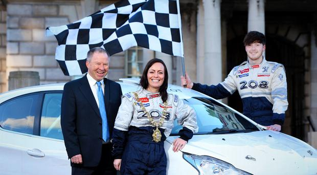 Revving up: Event Director Bobby Willis, Lord Mayor Councillor Nichola Mallon and competitor Jon Armstrong at the launch of the Circuit of Ireland Rally yesterday