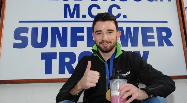 Race ace: Carrick racer Glenn Irwin came third in yesterday's sprint race at Donington Park