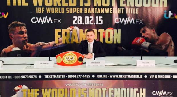 Carl Frampton at yesterday's announcement in London that his world title defence will be live on ITV