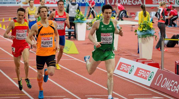 Looking good: Mark English is a big favourite to qualify for the 800m final and possibly win a medal at the Euro Indoors