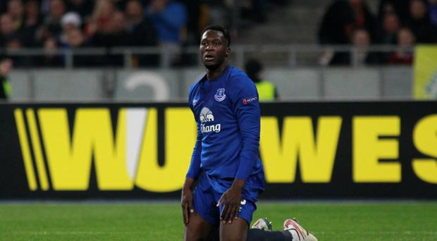 At a loss: Romelu Lukaku can't believe the heavy scoreline