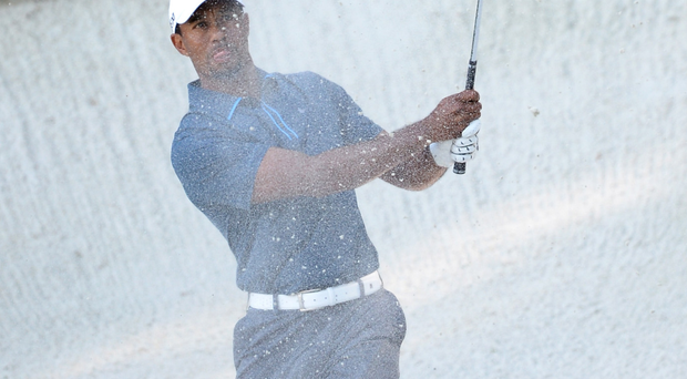 Old stomping ground: Tiger Woods, pictured at Augusta, won four Masters titles before his decline in form and run of injuries
