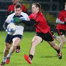 Come on down: Caolan Mooney (left), in action for UUJ, will start for Down against Laois on Sunday at Pairc Esler