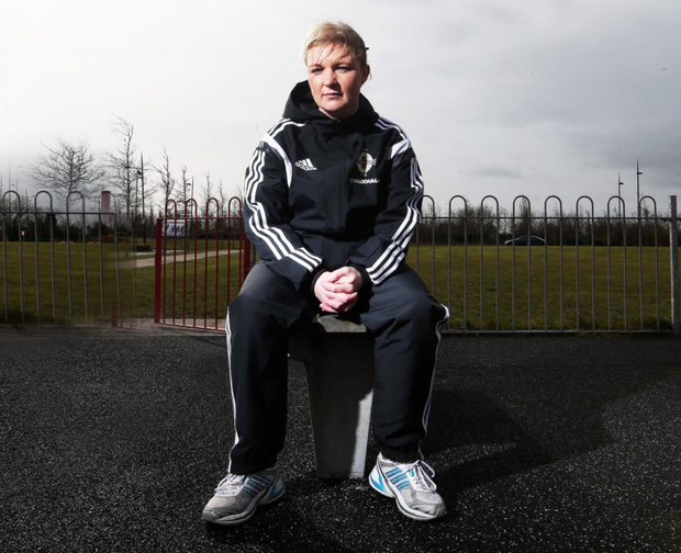 Multi-tasker: Lisa Fallon in her Irish FA tracksuit