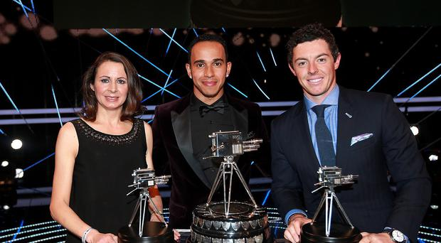 The BBC sports personality of the year for 2014 was Lewis Hamilton, centre, ahead of Rory McIlroy, right, and Jo Pavey