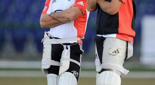 In the shade: Andrew Strauss (left) has told Kevin Pietersen (right) that issues of trust are blocking an England return
