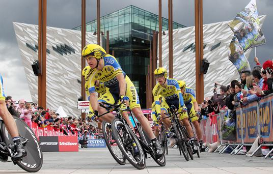 On their bikes: the Giro d'Italia, which began at the Titanic building last year, was a huge success across Northern Ireland
