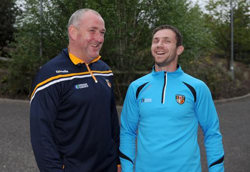 High spirits: Antrim manager Frankie Fitzsimons and Tony Scullion are in a relaxed mood ahead of the Ulster championship quarter-final clash against Fermanagh