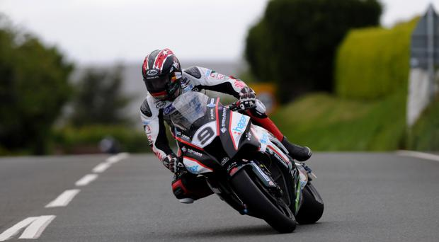 First back: Ian Hutchinson led home the riders after lap one but the practice session was untimed