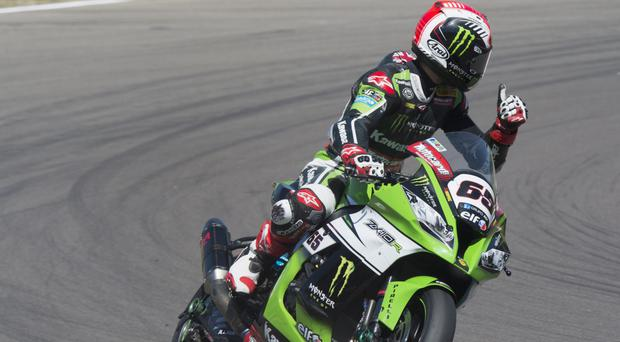 At the double: Jonathan Rea stepped up his world title bid with a double victory in Portugal