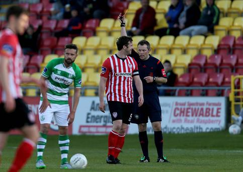 Seeing red: Derry City captain Ryan McBride is sent off