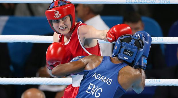 Silver lining: Michaela Walsh, on her way to Commonwealth silver against Nicola Adams, aims to go one better in Baku