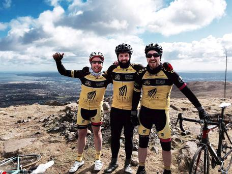 Sky's the limit: Roy Love, Chris Shawe and Philip Corr of Titanic Quarter Cycling Club on a recent training ride up Divis Mountain