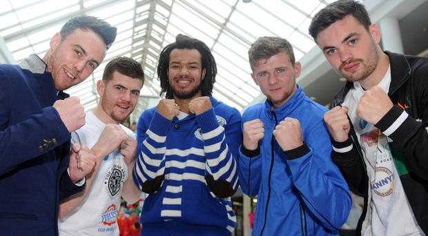 Up for the fight: Paul Quinn, Patrick Gallagher, Tommy McCarthy, Joe Fitzpatrick and Tyrone McKenna will all feature on the West Belfast Festival bill in August