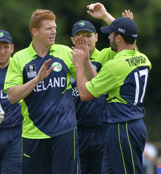 At the double: Kevin O'Brien takes the plaudits after taking two wickets in two balls