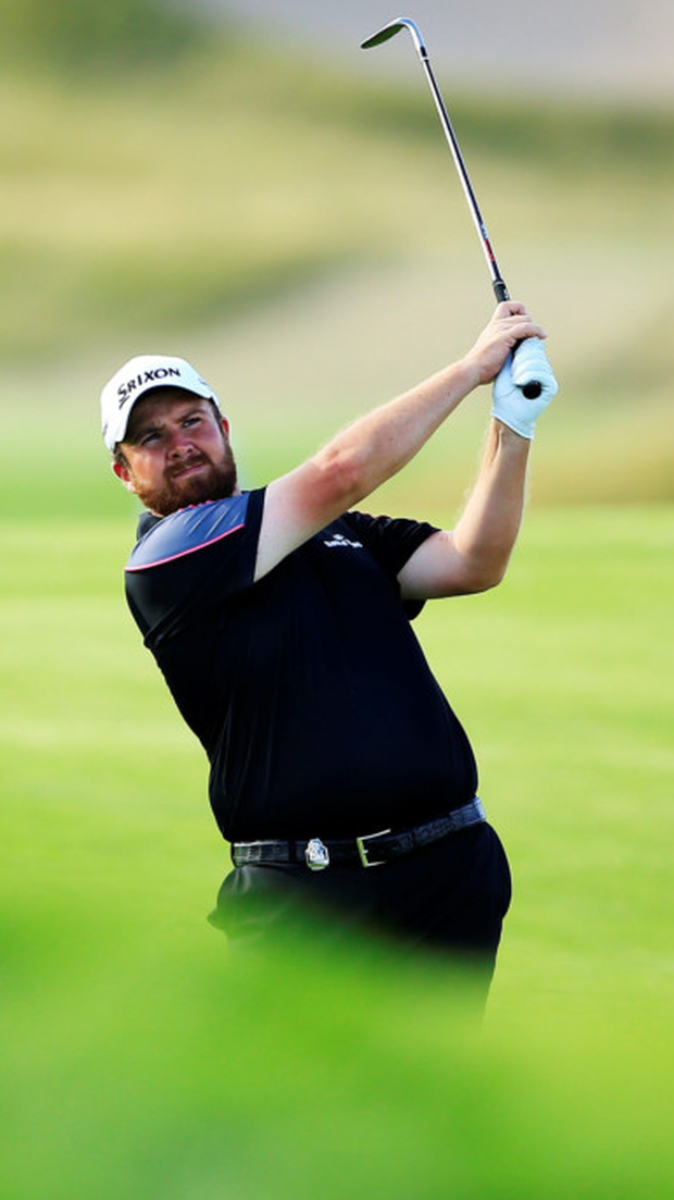 In the wilderness: Shane Lowry on the course yesterday