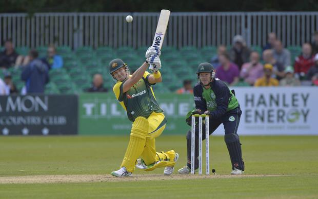 Bowled over: Australia's Shane Watson on the attack at Stormont yesterday