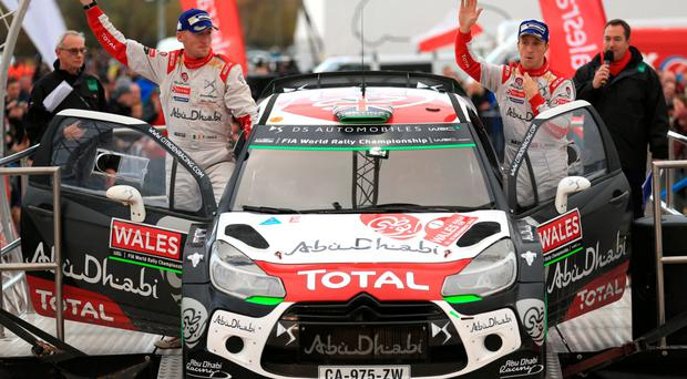 Second best: Kris Meeke (right) and co-driver Paul Nagle after the final day of the Wales Rally GB