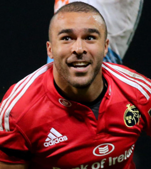 Touch down: Simon Zebo celebrates his bonus-point try