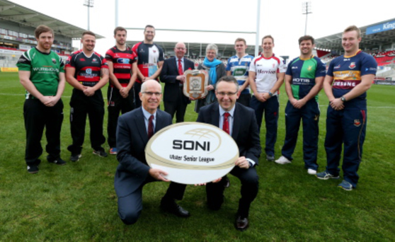 Bright sparks: Ulster Rugby's Senior League announce a new two-year sponsorship deal with SONI (System Operator for Northern Ireland) at the Kingspan Stadium. Representatives from the Ulster Senior League teams (L-R) David Ferguson, City of Derry RFC, Joe Roe, Rainey Old Boys, Matthew Hooks, Armagh RFC, Neil McComb, Belfast Harlequins, Jake Finlay, Dungannon RFC, Neill Alcorn, Malone RFC, Paul Pritchard, Ballynahinch RFC and Stephen Irvine, Banbridge RFC, are pictured with (front left) Managing Director of SONI, Robin McCormick, and Domestic Rugby Manager, Chris Webster, alongside (back left) Bobby Stewart, President of IRFU Ulster Branch, and Dr Joan Smyth, board member of SONI