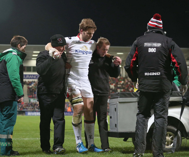Iain Henderson is helped off at the Kingspan
