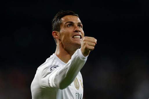 Goal crazy: Cristiano Ronaldo celebrates one of his quartet