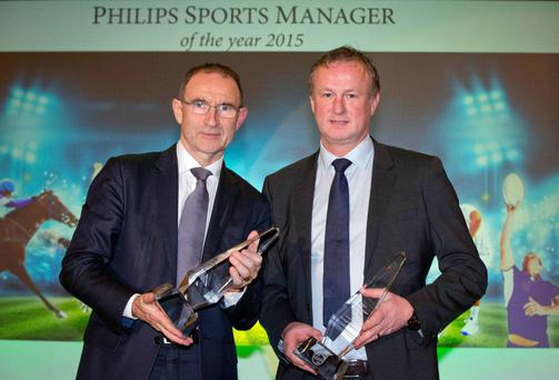Winners: Martin O'Neill and Michael O'Neill were jointly awarded the 2015 Philips Manager of the Year prize