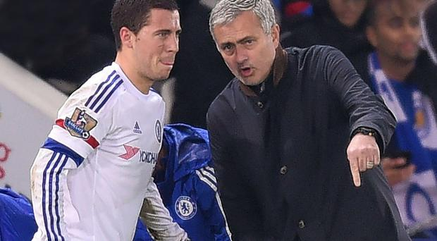 Do it my way: Jose Mourinho remonstrates with Eden Hazard during what turned out to be his last match, against Leicester on Monday