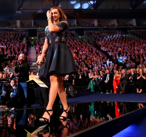 Power of three: Jessica Ennis-Hill walks to collect her third place trophy at the BBC SPOTY awards in Belfast