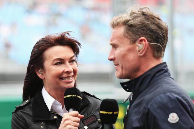 Off air: BBC F1 presenters Suzi Perry and David Coulthard