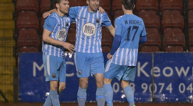 All square: Stephen Murray scored Warrenpoint's equaliser