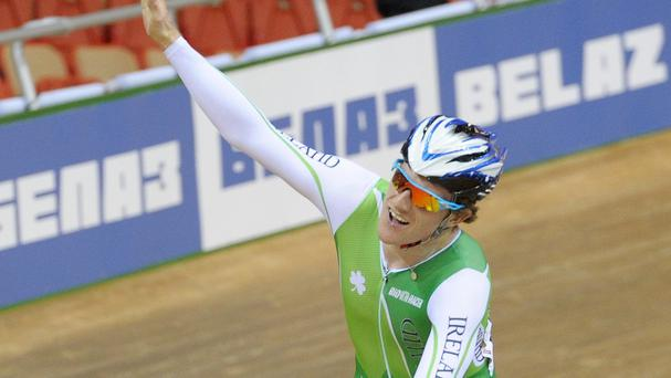 Martyn Irvine celebrates gold in the scratch race at the Track Cycling World Championships in Minsk