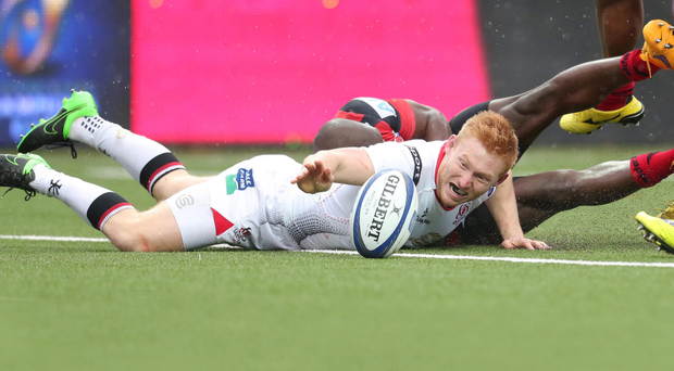 Dotting down: Rory Scholes crosses for his try