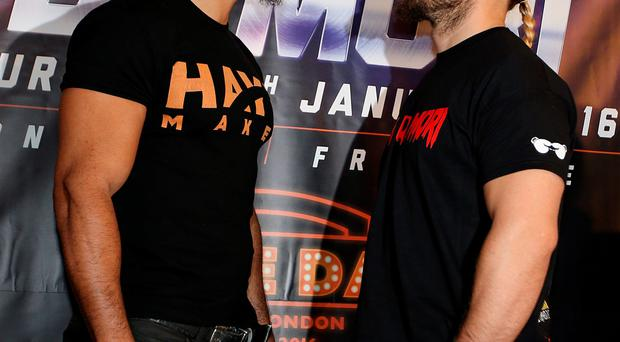 Eye to eye: David Haye and Mark de Mori are ready to come to blows at London's 02 Arena