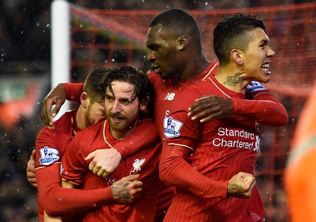 Better late than never: Joe Allen enjoys the moment after scoring Liverpool's equaliser