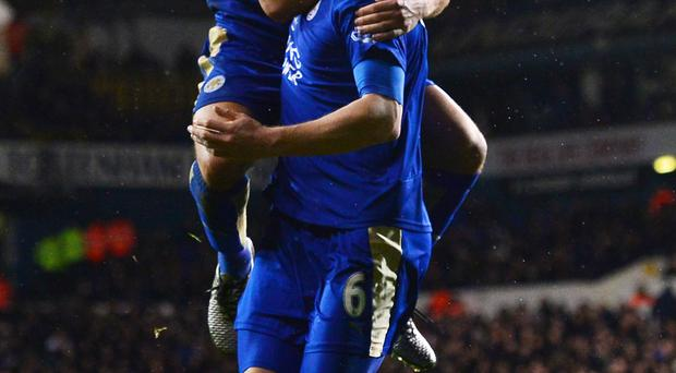 Get in: Robert Huth celebrates hitting the Leicester winner