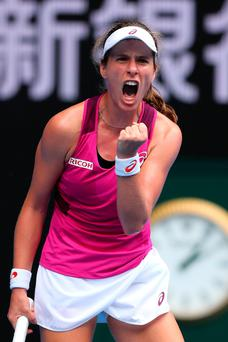 Go Jo: Johanna Konta celebrates quarter-final victory over Shuai Zhang yesterday in Melbourne