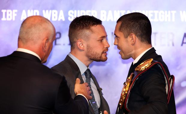 Face to face: Carl Frampton and Scott Quigg are fired up for this month's big showdown