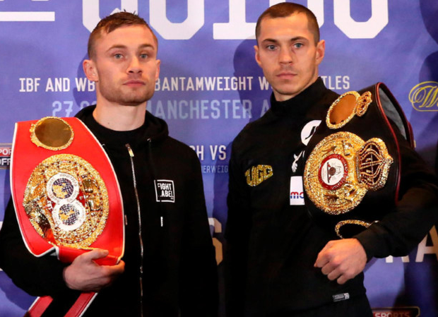 Carl Frampton and Scott Quigg with promoters Barry McGuigan and Eddie Hearn