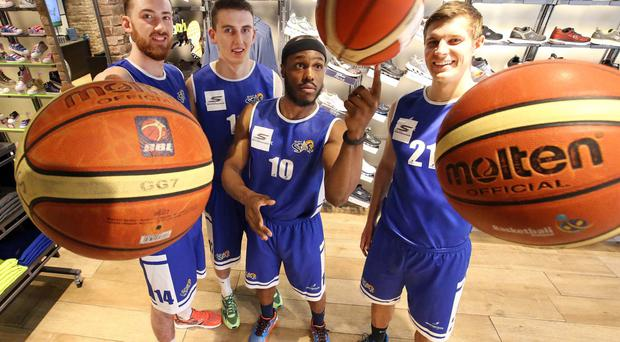 Best foot forward: Belfast Star Basketball players (l-r) Keelan Cairns, Liam Pettigrew, Ant Lessane and Sasha Seymore, who will be sponsored by Skechers for the forthcoming Irish Premier League