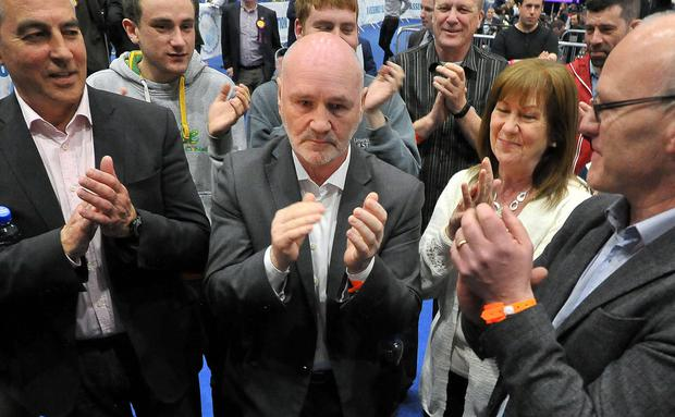 Sinn Fein's Alex Maskey looking slightly disappointed after Gerry Carroll topped the poll in West Belfast