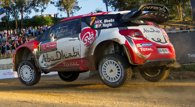Setting the pace: Kris Meeke powered into the lead of the Rally of Portugal, but needed his notional time on the fifth stage to be re-assessed