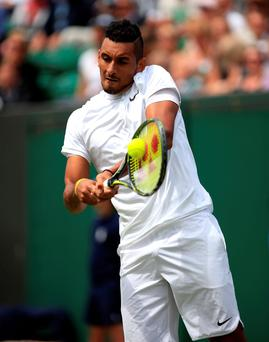 Marching on: Nick Kyrgios on route to victory over Radek Stepanek