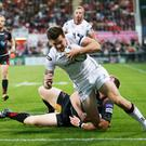Try for Ulster's Jacob Stockdale Guinness Pro 12 Ulster v Newport Gwent Dragons at Kingspan Stadium, Belfast. 2 September 2016 - Picture by Darren Kidd / Press Eye.
