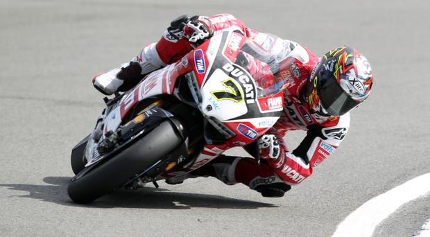 Ducati rider Chaz Davies shrugged off his recent injury problems to win race one of the US round of the World Superbike Championship at Laguna Seca