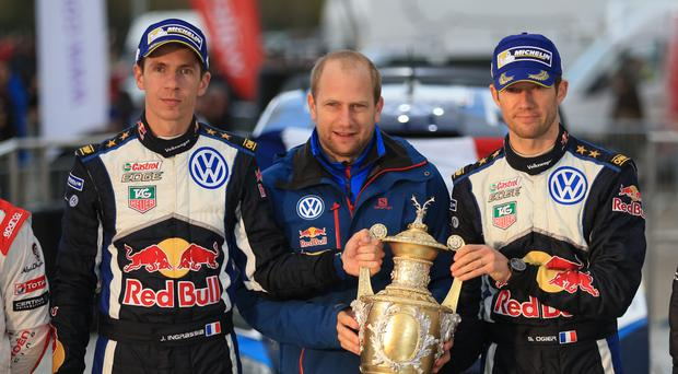 Defending champion Sebastien Ogier, right, crashed on Friday and could not return to action due to co-driver Julien Ingrassia's, left, concussion